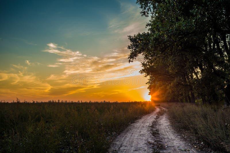 Coucher du soleil de paysage au-dessus de champ photos stock