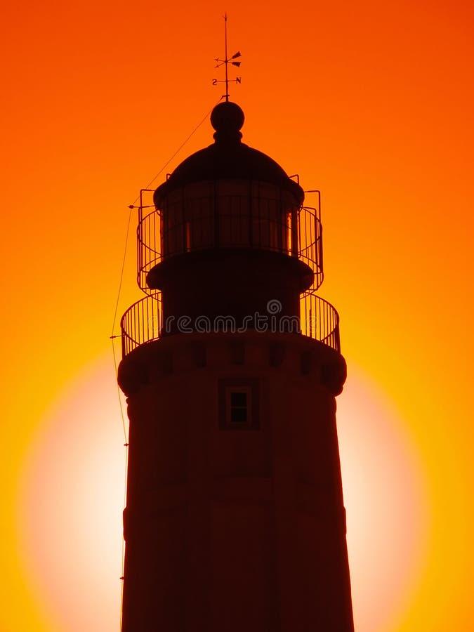 coucher du soleil de phare image libre de droits