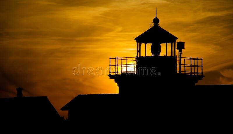 Coucher du soleil de phare de point photo stock