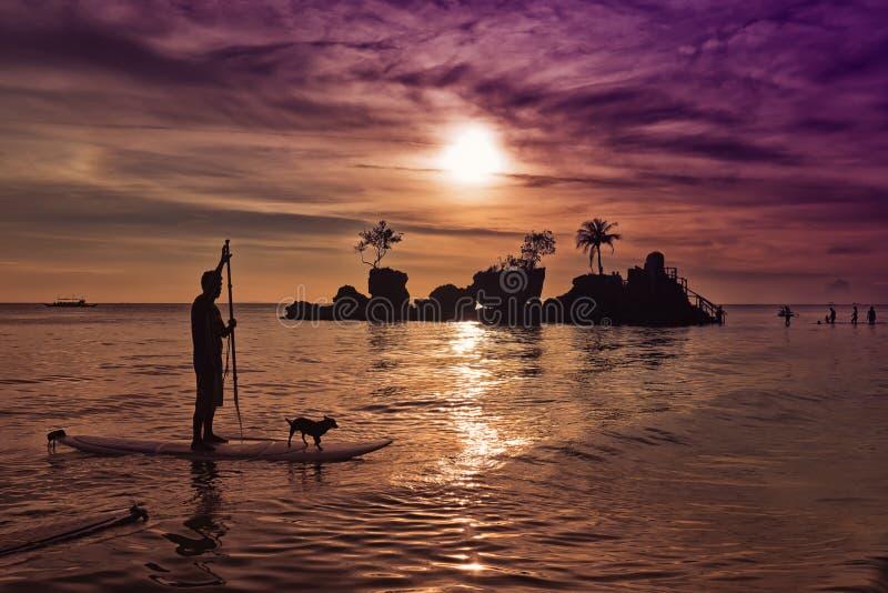Coucher du soleil 3 de plage de Boracay photos stock