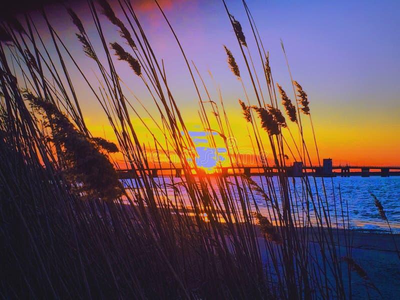 Coucher du soleil de plage de point de forgerons image libre de droits