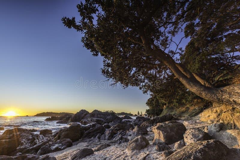 Coucher du soleil de plage rocheuse photographie stock libre de droits