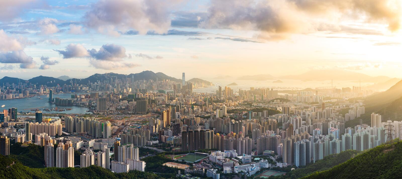 Coucher du soleil de point de vue de Kowloon photo libre de droits