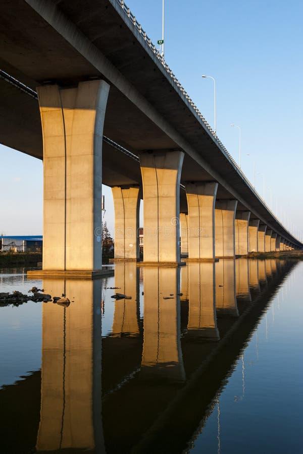 Coucher du soleil de pont du fleuve Yangtze images libres de droits