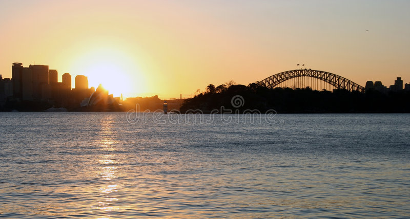 Coucher du soleil de port de Sydney photo libre de droits