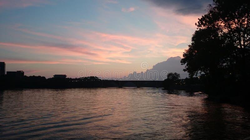 Coucher du soleil de Potomac photographie stock libre de droits