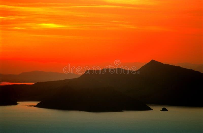 Coucher du soleil de Puno au-dessus de lac Titicaca 2 image libre de droits
