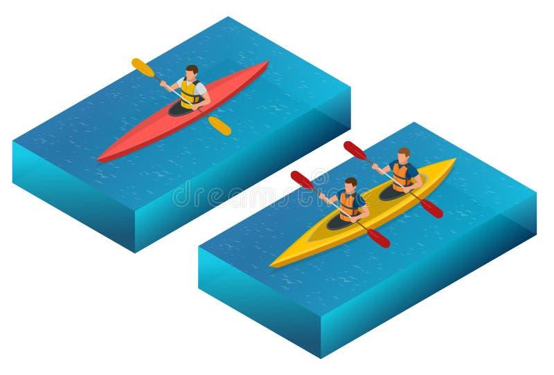 Coucher du soleil de réunion sur des kayaks Vue arrière de jeunes couples kayaking sur le lac ainsi que le coucher du soleil aux  illustration de vecteur