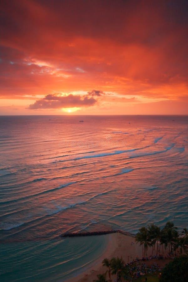 Coucher du soleil de ressource de Waikiki photo libre de droits
