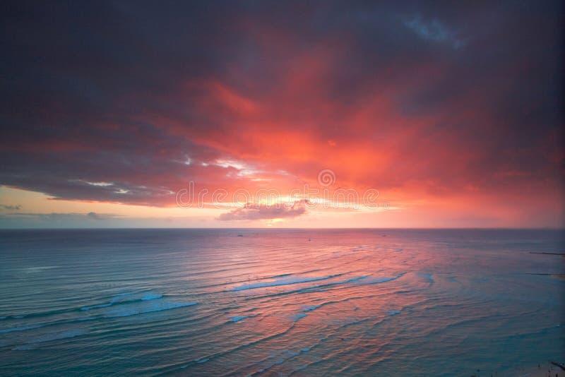 Coucher du soleil de ressource de Waikiki photos libres de droits