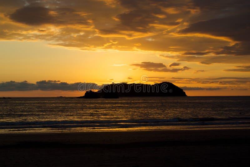 Coucher du soleil de Rican de côte images libres de droits