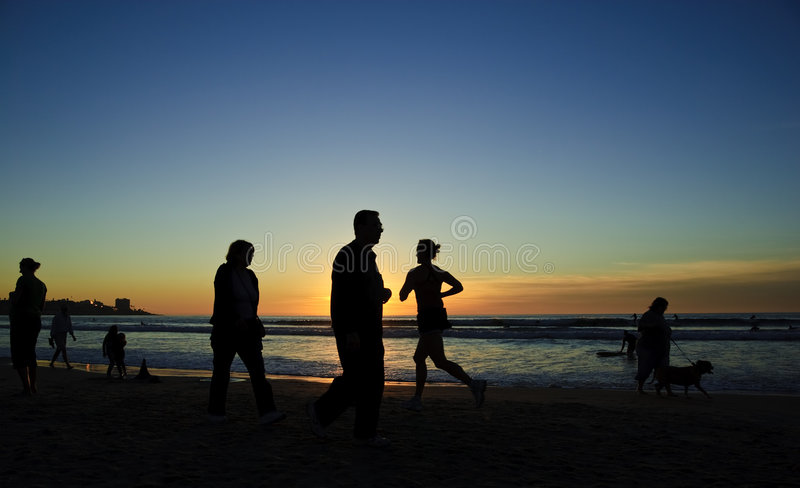 coucher du soleil de rivage de turbine de La de jolla image libre de droits