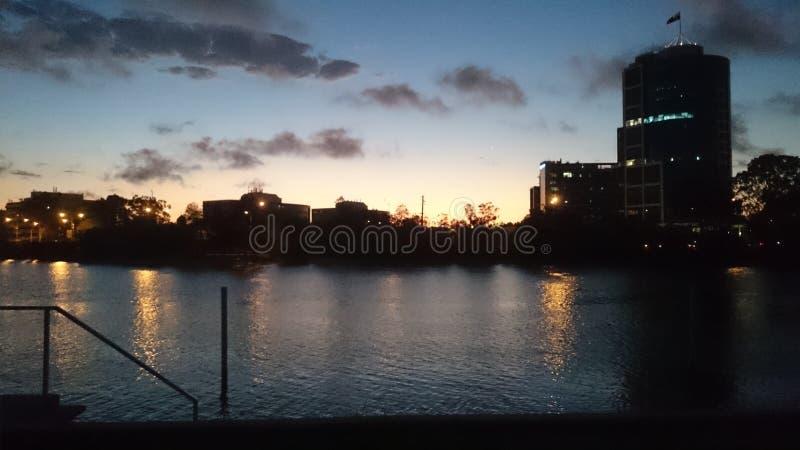 Coucher du soleil de rivière de Nerang image stock