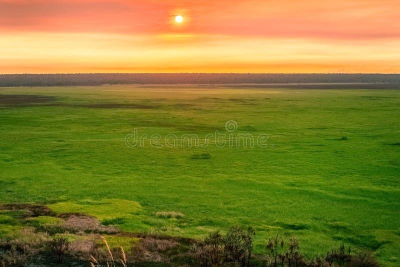 Coucher du soleil de roche d'Ubirr, NT, Australie photo libre de droits