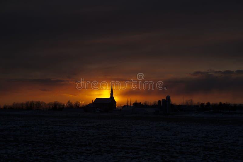 Coucher du soleil de Saint-Norbert image libre de droits