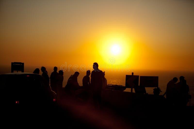 Coucher du soleil de Santorini images libres de droits