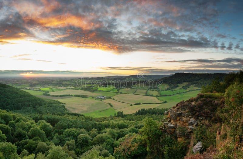 Coucher du soleil de septembre - Vale de Mowbray - Sutton Bank photographie stock libre de droits