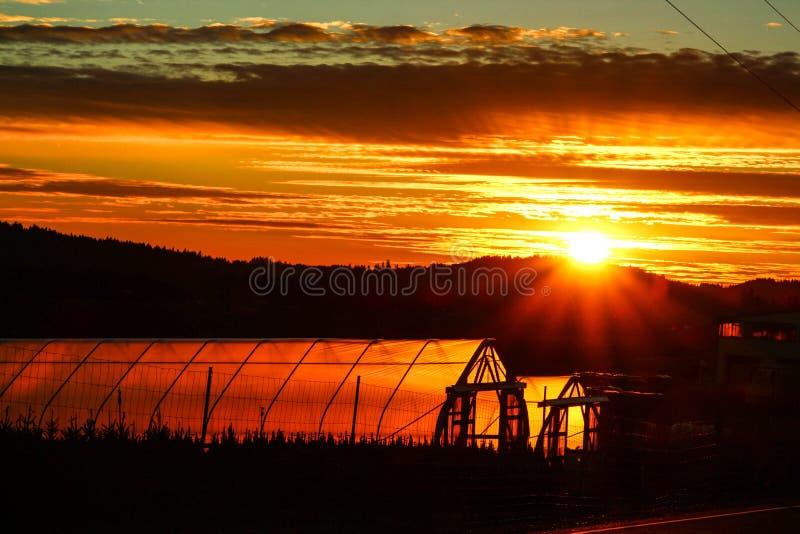 Coucher du soleil de serre chaude photographie stock libre de droits