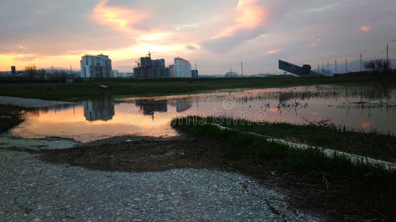 Coucher du soleil de Sity photo libre de droits