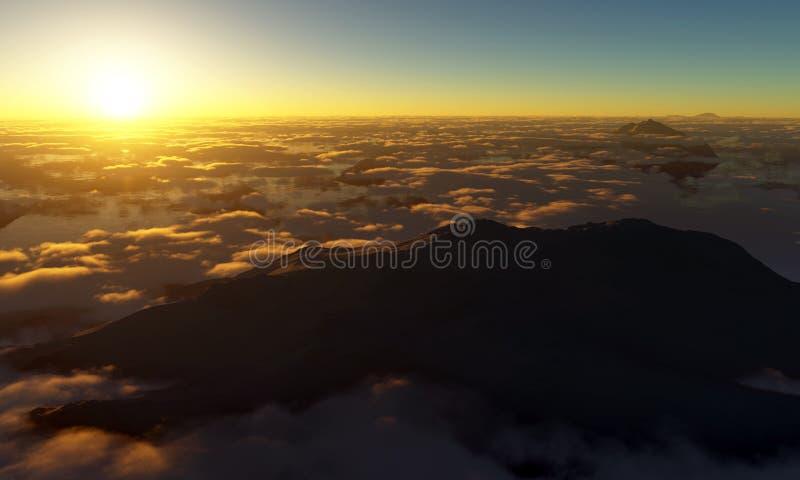 Coucher du soleil de sommet de montagne illustration de vecteur
