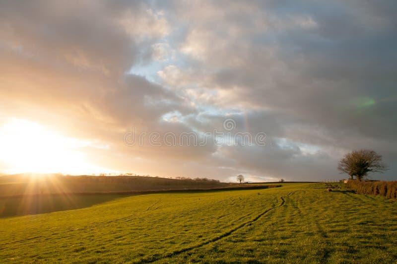 Coucher du soleil de Starburst au-dessus des champs photo libre de droits