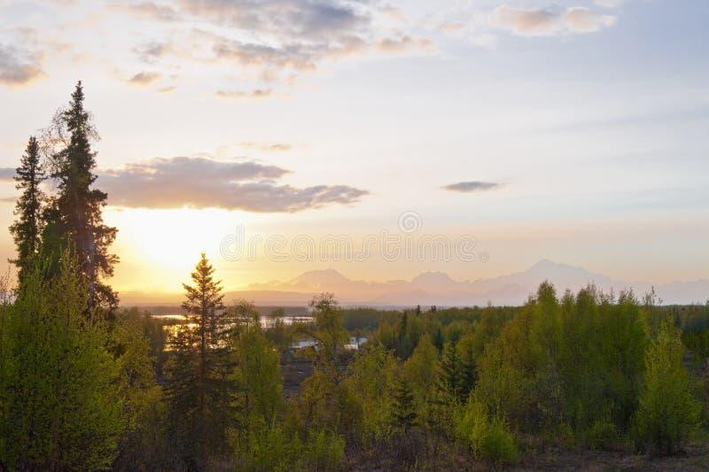 Coucher du soleil de stationnement national de Denali photos libres de droits