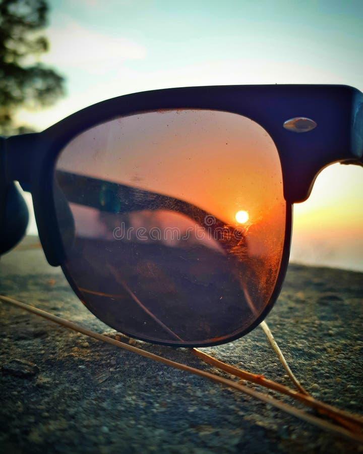 Coucher du soleil de Sunglass images libres de droits
