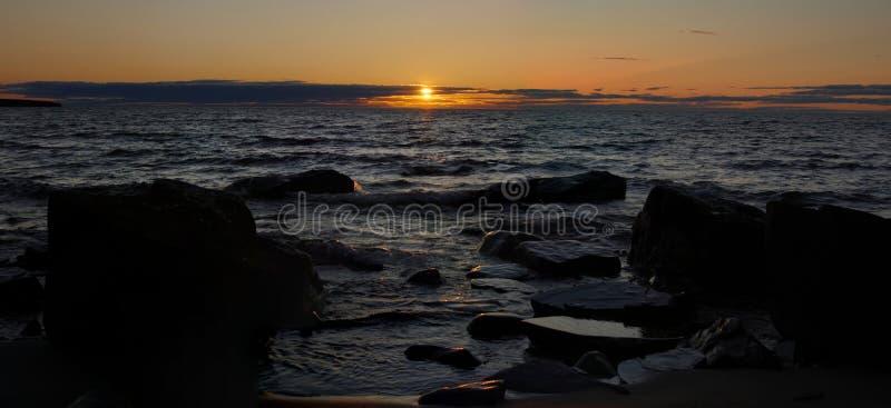 Coucher du soleil de supérieur de lac photographie stock