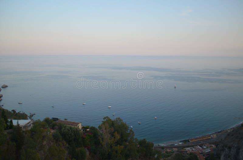Coucher du soleil de Taormina photos libres de droits