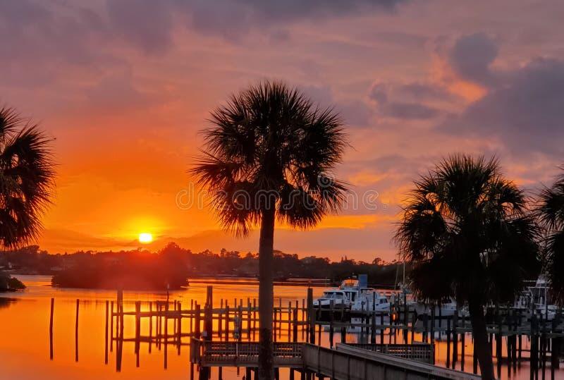 Coucher du soleil de Tarpon Springs la Floride photo libre de droits
