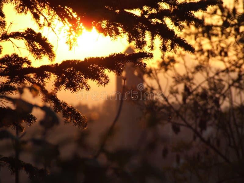 Coucher du soleil de tour de Bell photo libre de droits
