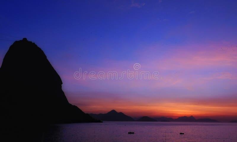 Coucher du soleil de Vermelha Urca de Praia photographie stock