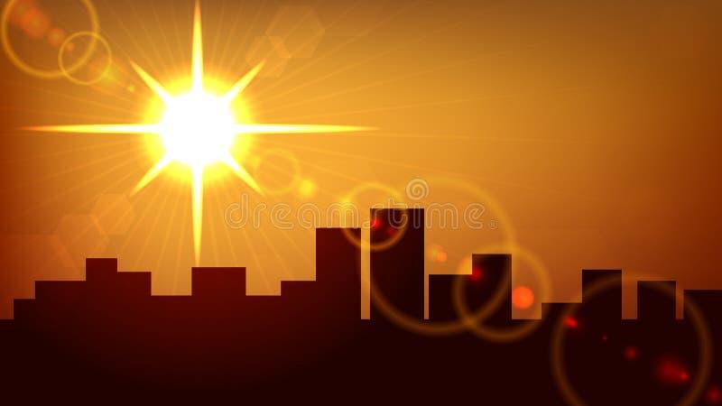 Coucher du soleil de ville illustration libre de droits