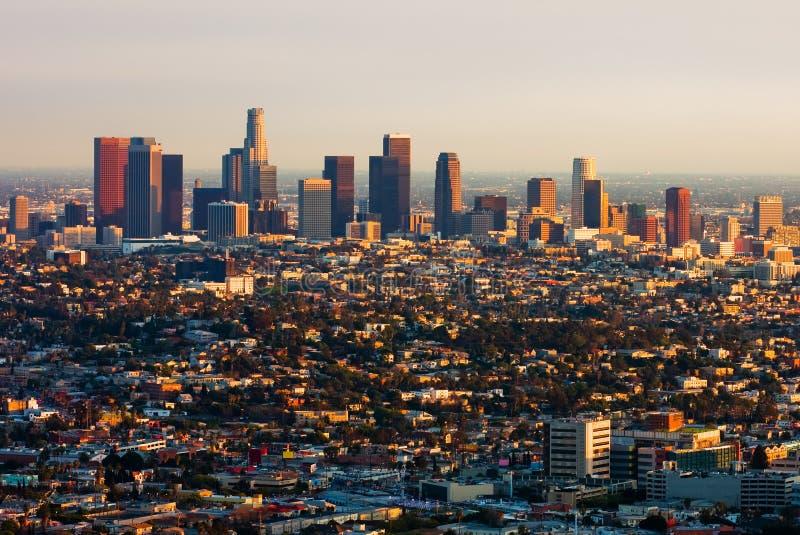 coucher du soleil de visibilité directe d'Angeles photos libres de droits