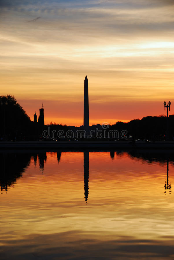 Coucher du soleil de Washington DC image libre de droits