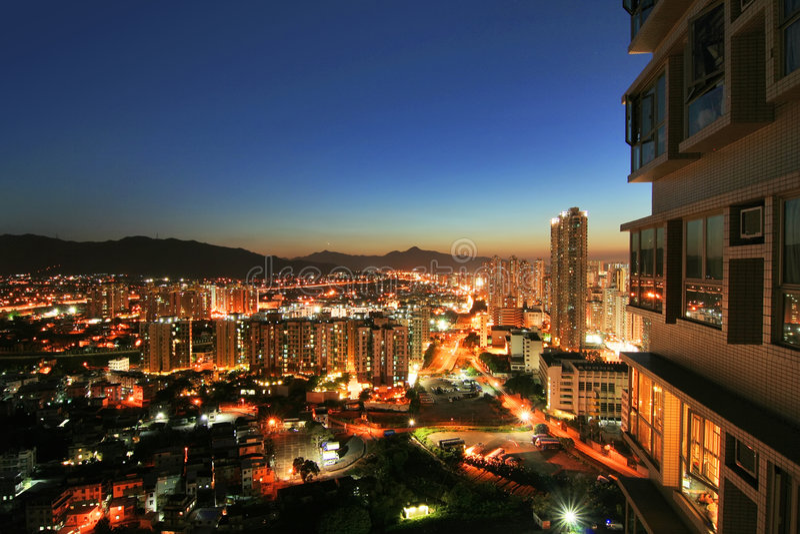 Coucher du soleil de Yuen longtemps, Hong Kong image stock