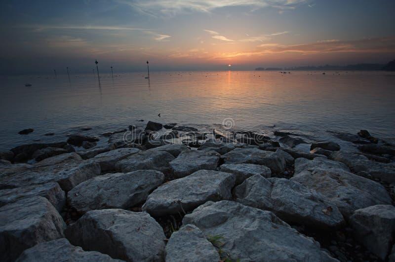 Coucher du soleil du Lac de Constance photos stock