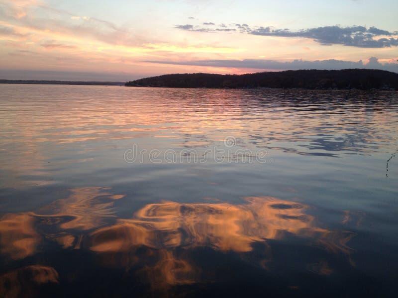 Coucher du soleil du Lac Léman photographie stock libre de droits