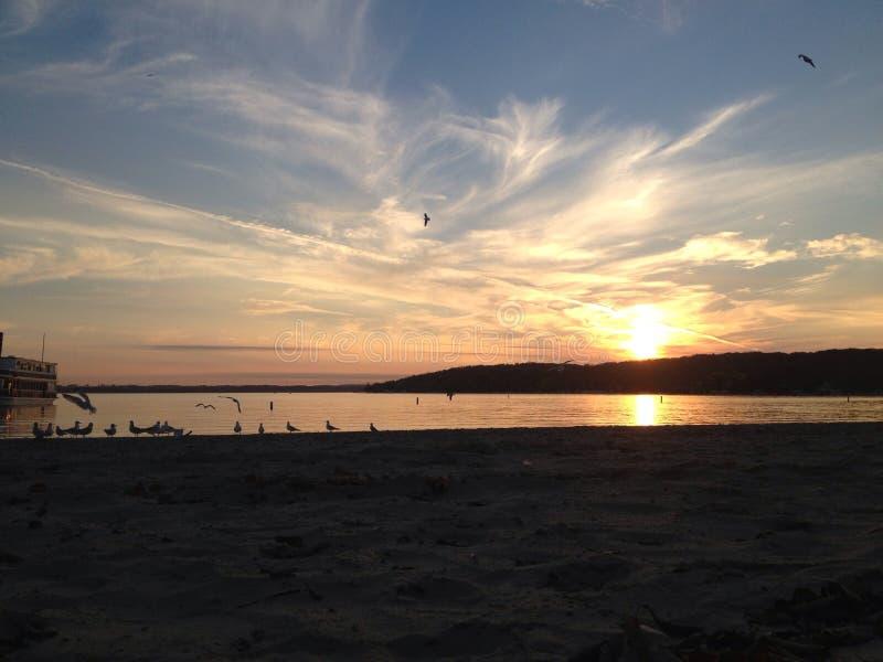 Coucher du soleil du Lac Léman images stock