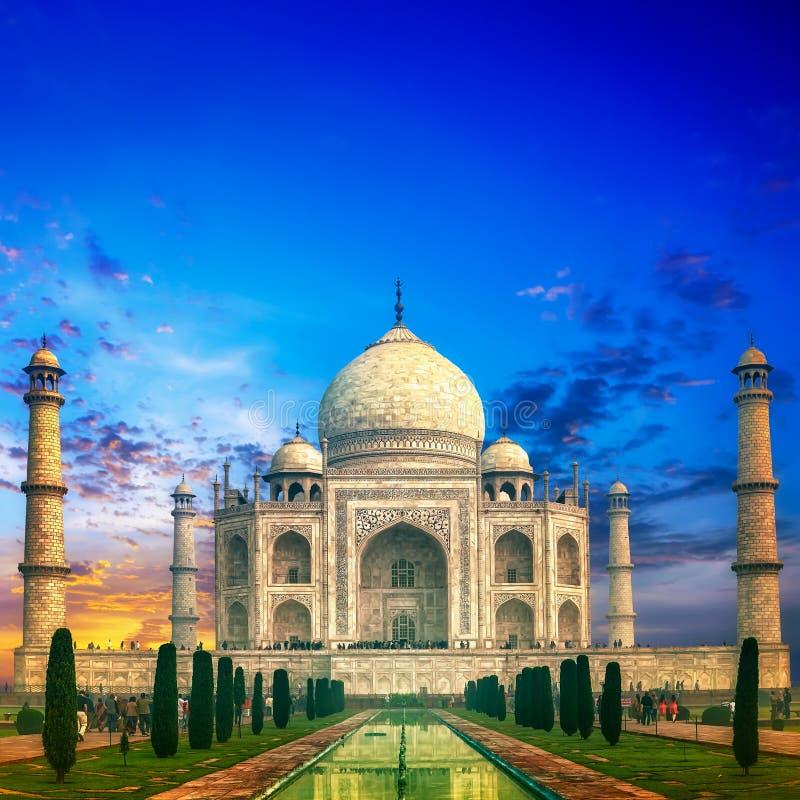 Coucher du soleil du Taj Mahal Inde photos stock