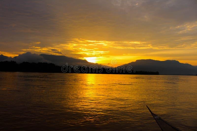 Coucher du soleil en île de Don deng images libres de droits