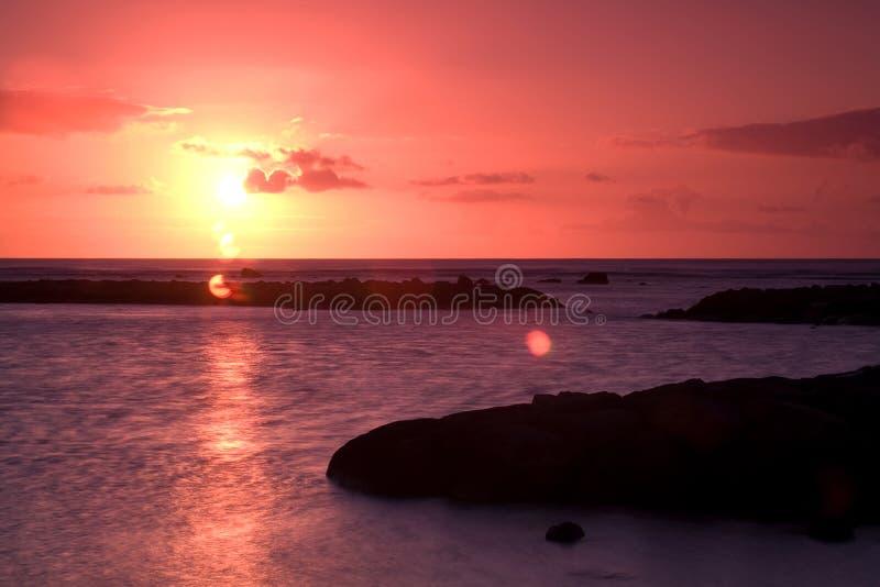 Coucher du soleil en Îles Maurice photographie stock libre de droits