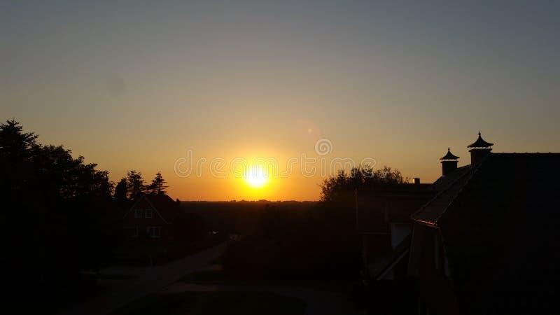 Coucher du soleil en Allemagne photographie stock libre de droits