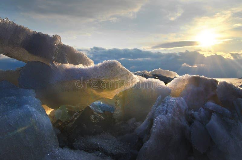 Coucher du soleil en Antarctique image stock