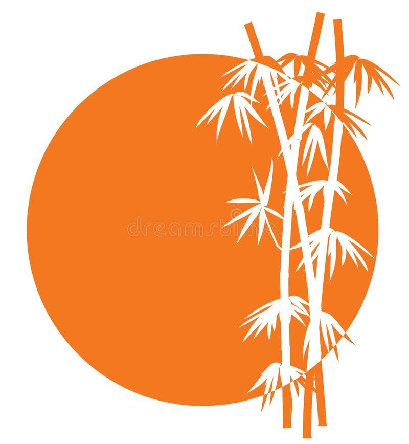 coucher du soleil en bambou de graphisme illustration de vecteur