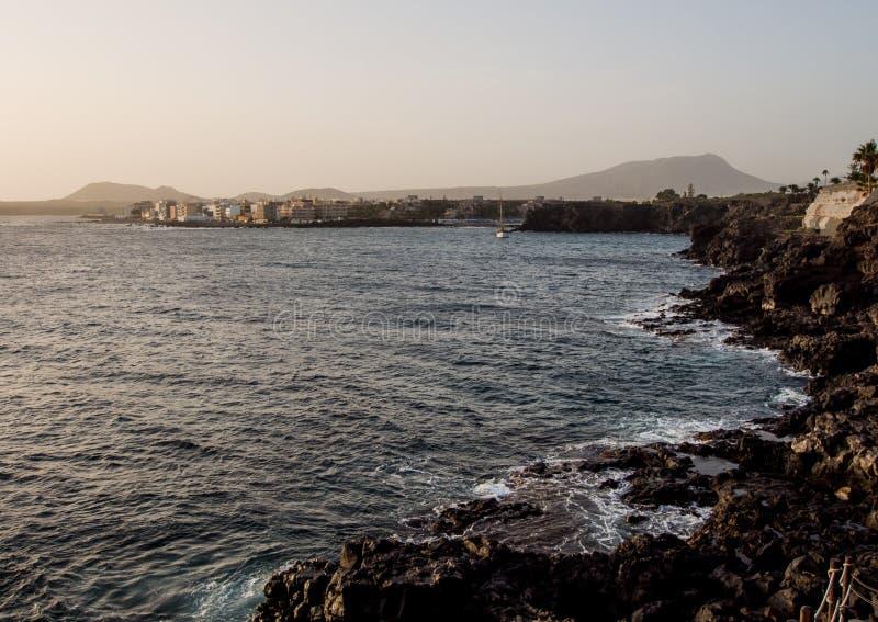 Coucher du soleil en Costa del Silencio photo stock
