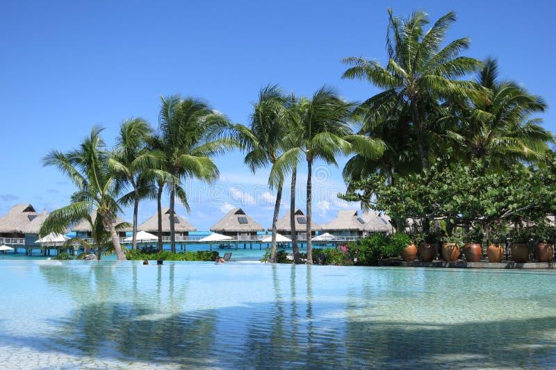 Coucher du soleil en français des îles de Polynésie française images stock