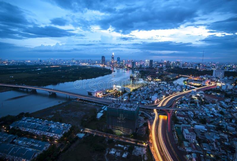 Coucher du soleil en Ho Chi Minh City, Vietnam image stock