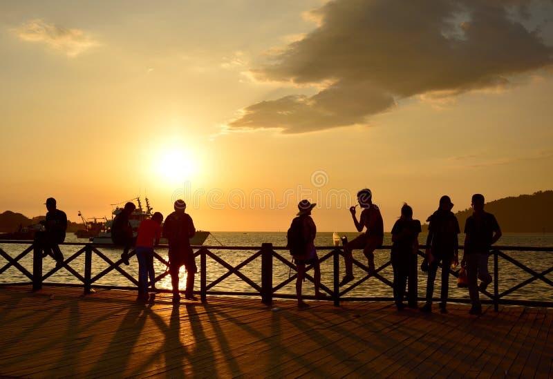 Coucher du soleil en Kota Kinabalu, Sabah Borneo photos stock