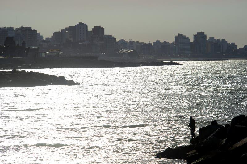 Coucher du soleil en mars del Plata Argentine de paysage images libres de droits